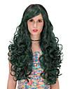 mörkgrön långt hår peruk.peruk lolita, halloween peruk, färg peruk, mode peruk, naturlig peruk, cosplaya peruk.