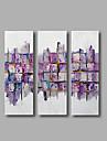 Peint a la main Abstrait POP Peintures a l\'huile,Moderne Trois Panneaux Toile Peinture a l\'huile Hang-peint For Decoration d\'interieur