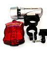Cykellyktor,front ljus + svans ljus kit-3 Läge 50 Lumen Lätt att bära AAA / AAx6 Batteri Cykling/Cykel silver / Röd Cykel NO L020