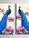 canvas Set Djur / Blommig/Botanisk Europeisk Stil,Två paneler Kanvas Vertikal Print Art väggdekor For Hem-dekoration