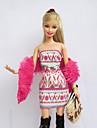 Informel Robes Pour Poupee Barbie Rose / Blond Pale Imprime Robes / Bas / Sac / Chale Pour Fille de Doll Toy