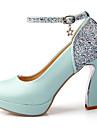 Homme-Mariage Soiree & Evenement Habille-Bleu Rose Blanc-Gros Talon Plateforme-A Plateau-Chaussures a Talons-Similicuir