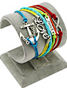 Retro Style Multilayer Rainbow Color Anchor Love Faith Weave Wrap Bracelet