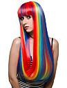 couleur arc-en-longs cheveux, la mode perruque