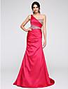 Trompetă / Sirenă Pe Umăr Mătura / Trenă Satin Seară Formală Rochie cu Detalii Cristal Cruce de TS Couture®