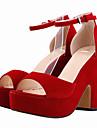 Dam Sandaler Sommar Platå Textil Bröllop Formellt Fest/afton Tjock klack Platå Spänne Svart Blå Gul Grön Lila Röd Orange Mörkröd Mandel