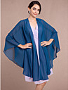 Women\'s Wrap Capes Sleeveless Chiffon Ink Blue Wedding / Party/Evening V-neck Scales Open Front