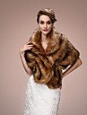 Women\'s Wrap Capelets Sleeveless Faux Fur Brown Wedding / Party/Evening V-neck 45cm Tiered Hidden Clasp