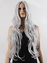 mode naturlig vågig lång längd grå färg populär syntetisk peruk för kvinna cosplay peruk.