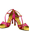 Chaussures de danse(Noir / Bleu / Jaune / Rose / Violet / Rouge / Blanc) -Personnalisables-Talon Personnalise-Satin-Latine / Salsa