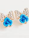 La modă Aliaj Flower Shape Rosu Albastru Roz Bijuterii Pentru Nuntă Petrecere 1 pereche