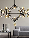 Modern Dimmable Modo Chandelier 21 Lights Semi-Flush Mounted Black Paiting Amber Glass for Living Room Loft Light