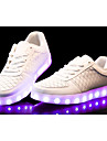 Homme Femme-Decontracte-Noir Blanc-Talon Plat-Confort Light Up Chaussures-Baskets-Polyurethane