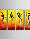 HANDMÅLAD Abstrakt / Människor / Abstrakta porträtt olje~~POS=TRUNC,Moderna / Klassisk / Europeisk Stil Fyra paneler KanvasHang målad