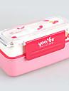 yooyee a double boite a lunch couche de plastique avec une cuillere et une fourchette