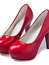 Homme-Mariage / Soiree & Evenement-Noir / Rouge / Blanc / Amande-Talon Aiguille-Talons-Chaussures a Talons-Similicuir