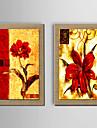 Pictat manual Abstract / Natură moartă / Fantezie / Floral/Botanic Picturi de ulei,Modern / Tradițional / Stil European Două Panouri