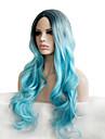 somke blå pastell mode personlighet charmiga naturliga kvinnors trendiga peruker med mörka rötter kändis stil det flickor