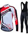 Fastcute® Maillot et Cuissard Long a Bretelles de Cyclisme Femme / Homme / Unisexe Manches longues VeloRespirable / Garder au chaud /