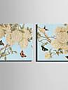 Animal / Botanico Impressao em tela Dois Paineis Pronto para pendurar , Quadrada
