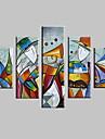 Peint a la main Abstrait / Paysage / Fantaisie / Paysages AbstraitsModern Cinq Panneaux Toile Peinture a l\'huile Hang-peint For