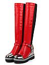 Svart Röd Silverfärgad-Kilklack-Dam-Modestövel-Konstläder-Kontor Fritid-Stövlar