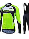 Fastcute® Maillot et Cuissard Long a Bretelles de Cyclisme Femme Homme Unisexe Manches longues VeloRespirable Garder au chaud Sechage