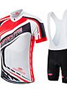 Fastcute® Cykeltröja med Haklapp-shorts Herr Unisex Kort ärm Cykel Andningsfunktion Snabb tork Dragkedja fram Bärbar Kompression