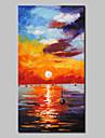 Peint a la main Abstrait / Paysage / Paysages Abstraits Peintures a l\'huile,Modern / Style europeen Un Panneau ToilePeinture a l\'huile