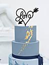 Vârfuri de Tort Nepersonalizat Inimi Acrilic Nuntă Flori Negru Temă Clasică 1 Cutie de Cadouri