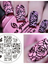 fleur rose ongle art estampage plaque d\'image de modele ne assez bp-73 ongles estampage plaques set stencil manucure