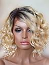 elegant medel Capless vågig peruker hög kvalitet människohår blandade färger