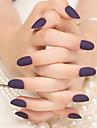 24pcs matte violet fonce couleur pure bandes de clous mode et elegant 1set