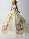 Fete / Soiree Robes Pour Poupee Barbie Ivoire Imprime Robes Pour Fille de Doll Toy