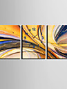 Rectangulaire Moderne/Contemporain Horloge murale , Autres Toile35x50cm(14inchx20inch)x3pcs/40x60cm(16inchx24inch)x3pcs/