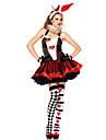 Cosplay Kostymer/Dräkter / Festklädsel Burlesk/Clown Festival/Högtid Halloween Kostymer Röd / Vit / svart TryckKlänning / Handskar /