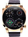 Oulm Bărbați Ceas Militar Ceas de Mână Unic Creative ceas Quartz Compass Termometre Zone Duale de Timp Piele Autentică BandăCool Casual