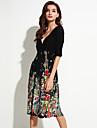 Femei Plajă / Plus Size Boho Șifon Rochie-Floral ½ Lungime Manșon În V Lungime Genunchi Negru Poliester / Spandex Vară