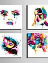 canvas Set Människor Moderna,Fyra paneler Kanvas Fyrkantig Print Art väggdekor For Hem-dekoration