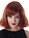 12 tum Capless kvinnor medel lockigt våg fluffiga röda vin syntetiska peruker med gratis hårnät och kamma