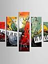 Peint a la main Abstrait Loisir Toute Forme,Moderne Classique Cinq Panneaux Toile Peinture a l\'huile Hang-peint For Decoration d\'interieur