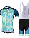 Sportif Maillot et Cuissard a Bretelles de Cyclisme Homme Manches courtes VeloRespirable / Sechage rapide / Design Anatomique / Zip