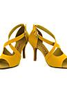 Chaussures de danse(Noir / Jaune / Rouge) -Personnalisables-Talon Personnalise-Daim-Latine / Salsa