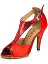 Chaussures de danse(Marron / Violet / Rouge) -Personnalisables-Talon Bottier-Cuir-Latine / Jazz / Baskets de Danse / Moderne