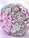 """Flori de Nuntă Rotund Trandafiri Buchete Nuntă Petrecere / Seară Poliester Satin Taftă Dantelă Spandex Ștras 9.84""""(Approx.25cm)"""
