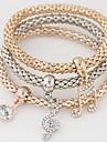 Dame Brățări cu Talismane Ștras imitație de diamant Aliaj stil minimalist La modă Note muzicale Curcubeu Bijuterii 1set