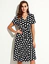Femei Plus Size / Nuntă Boho Larg Rochie-Buline Manșon scurt În V Lungime Genunchi Negru Spandex Vară