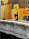 Carre Avec motifs Brode Nappes de table , Melange Lin/Coton Materiel Decorations de Noel 1