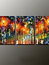 Peint a la main Paysage / Paysages Abstraits Peintures a l\'huile,Modern Trois Panneaux Toile Peinture a l\'huile Hang-peint For Decoration