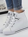 Homme-Decontracte-Noir / Blanc-Talon Compense-Confort-Sneakers-Cuir Nappa
